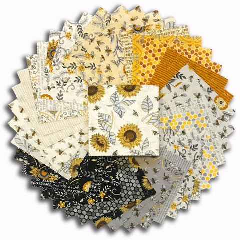 "Moda Pre-Cut 42 Piece 5"" Charm Squares - Bee Grateful"