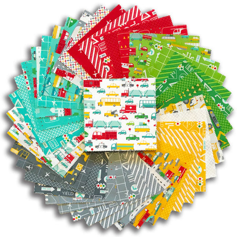 "Moda Pre-Cut 42 Piece 5"" Charm Squares - On The Go"