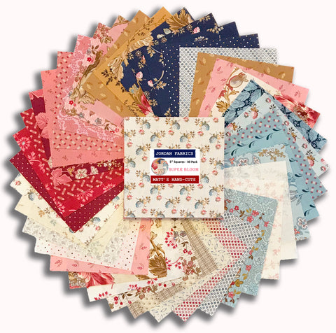 "Andover & Laundry Basket Quilts 40 Piece Hand-Cut 5"" Charm Squares - Super Bloom"