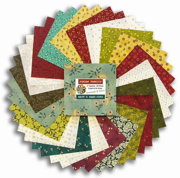 "Henry Glass & Co. Pre-Cut 42 Piece 5"" Charm Squares - Gratitude & Grace"