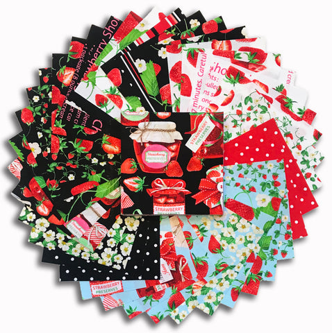 "Kanvas Pre-Cut 40 Piece 5"" Charm Squares - Strawberry Fields"