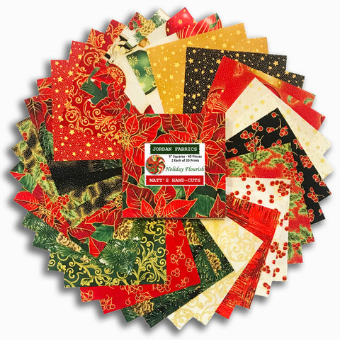 "Kaufman 40 Piece Pre-Cut 5"" Charm Squares - Holiday Flourish"