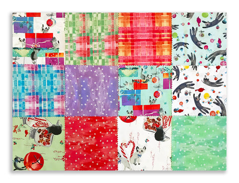 "Clothworks Pre-Cut 42 Piece - 5"" Charm Squares SQ0233 - Purrfect Christmas"