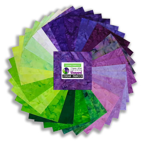"Anthology Batiks Pre-Cuts 40 Piece 5"" Charm Squares - Vineyard"