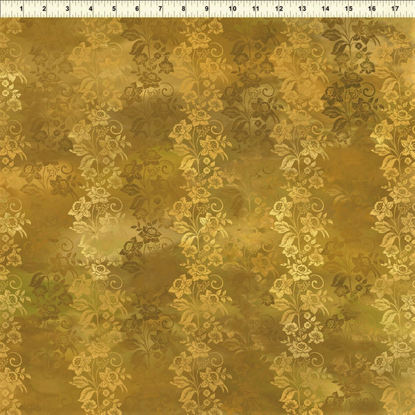 In The Beginning Fabrics Diaphanous 5ENC 2 Gold Enchanted Vines By The Yard
