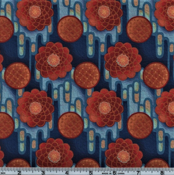 In The Beginning Fabrics Pastiche 5JYG 1 Orange Button Flowers On Blue By The Yard