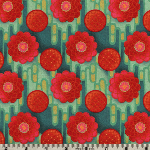 In The Beginning Fabrics Pastiche 5JYG 2 Coral Rose Button Flowers On Teal By The Yard