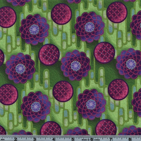 In The Beginning Fabrics Pastiche 5JYG 3 Purple Button Flowers On Lime By The Yard