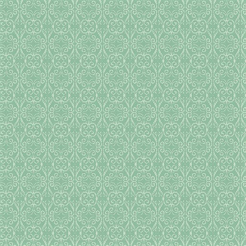 Benartex River's End 06281 80 Light Turquoise Damask Scroll - 1/2 Yard Cut