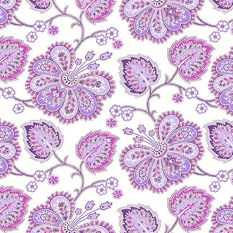 Benartex Lavender Fields 06830 09 White Violette Allover By The Yard