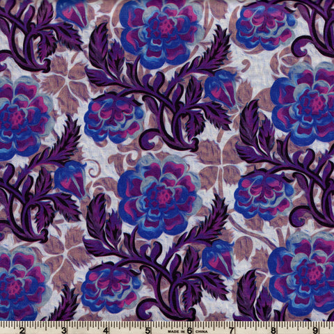 In The Beginning Fabrics Pastiche 6JYG 4 Lilac Backround with Medium Asian Fauna in Purple By The Yard