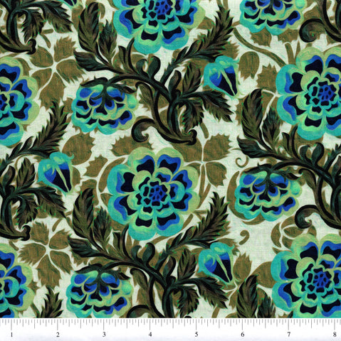 In The Beginning Fabrics Pastiche 6JYG 2 Teal Flowers On Light Green By The Yard