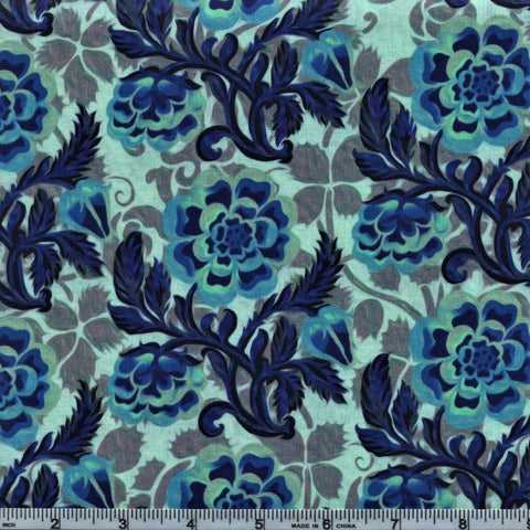 In The Beginning Fabrics Pastiche 6JYG 3 Blue Flowers On Coral By The Yard