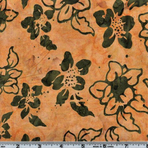 Anthology Batik 7073 Green Flowers On Yellow By The Yard