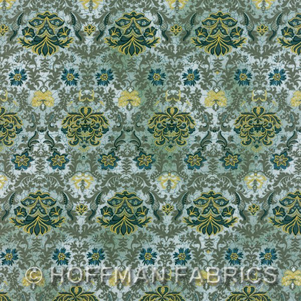 Hoffman Metallics 7106 021 Olivia's Ornate Garden In Dusty Teal By The Yard