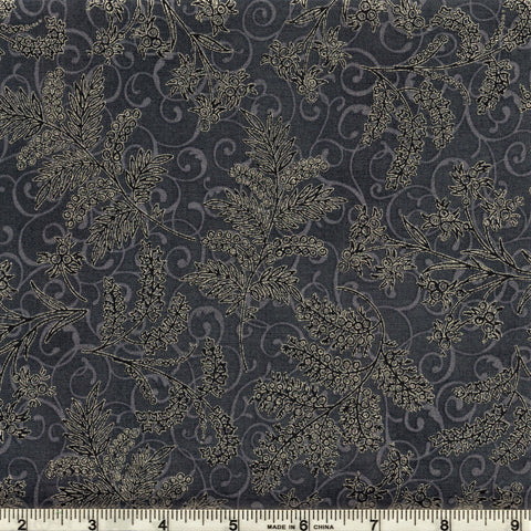 Hoffman Metallic Christmas 7170 147 Silver Foliage & Flowers On Storm Grey By The Yard