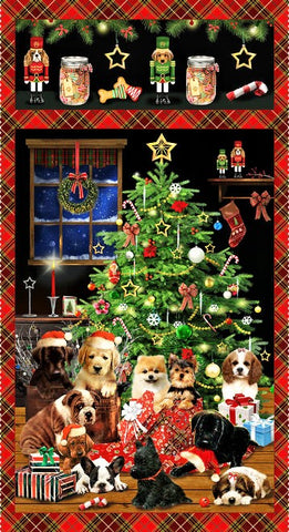 "Henry Glass & Co. Fireside Pups 7190P 88 Puppy Christmas 23"" PANEL By The Panel (not by the yard)"