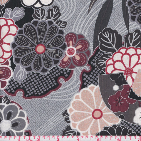 Hoffman Fabrics Asuka Metallic 7250 765 Pewter/Silver Hidden Fans Among the Flowers by the yard