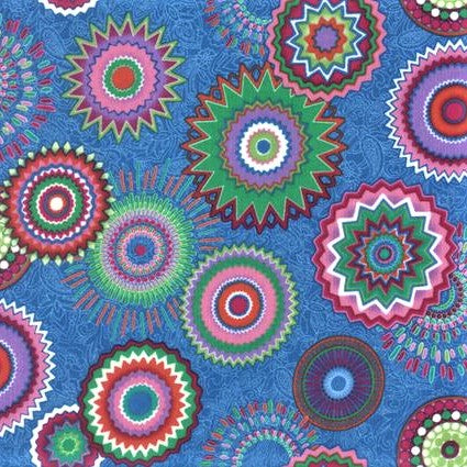 Hoffman Fabrics 7296 17 Kaleidoscope Circles On Cobalt By The Yard