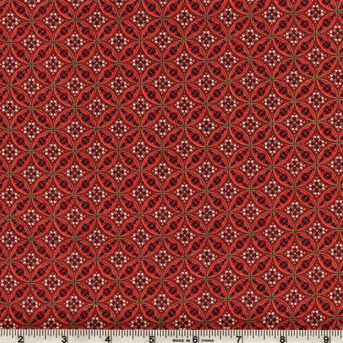 Hoffman Metallic Christmas 7319 231 Circles & Flowers On Garnet By The Yard