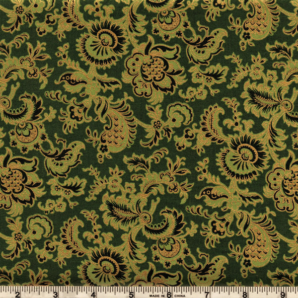 Hoffman Metallics 7341 141 Pine Palace Floral By The Yard