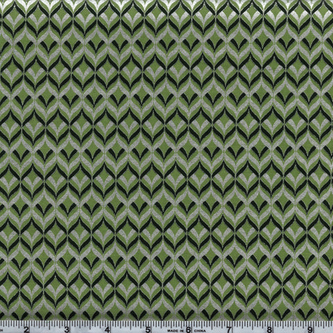 Hoffman Metallics 7342 141 Silver & Evergreen Weaving Waves On Pine By The Yard