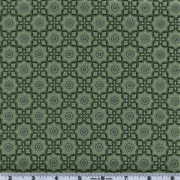 Hoffman Metallics 7344 141 Pine & Silver Stars Of Alchemy By The Yard