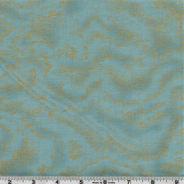 Hoffman Metallics 7415 243 Golden Pond Ripples On Delft Blue By The Yard