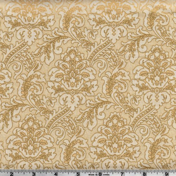 Hoffman Metallics 7431 33 Golden Floral Feathers On Cream By The Yard