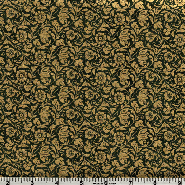 Hoffman Metallics 7432 166 Gold Floral On Evergreen By The Yard