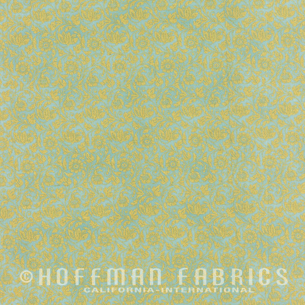 Hoffman Metallics 7432 79 Gold Floral On Seafoam By The Yard