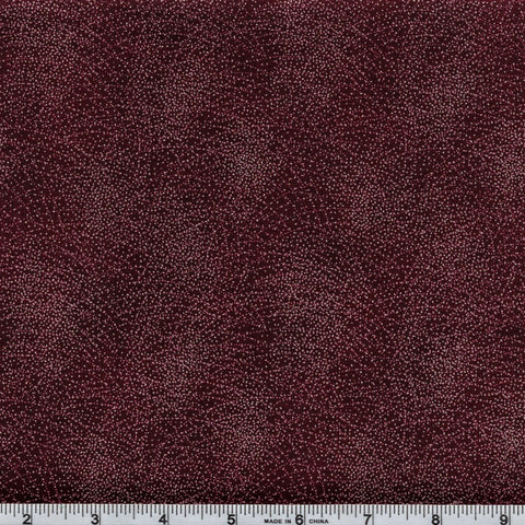 Hoffman Christmas Metallic Narumi 7437 38 Burgundy/Silver Galaxy by the yard