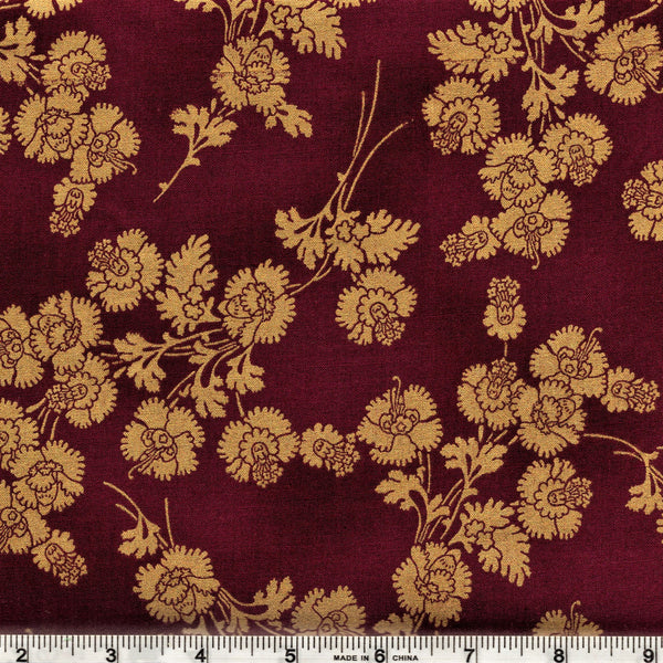 Hoffman Metallics 7453 38 Golden Carnation Bouquet On Burgundy By The Yard