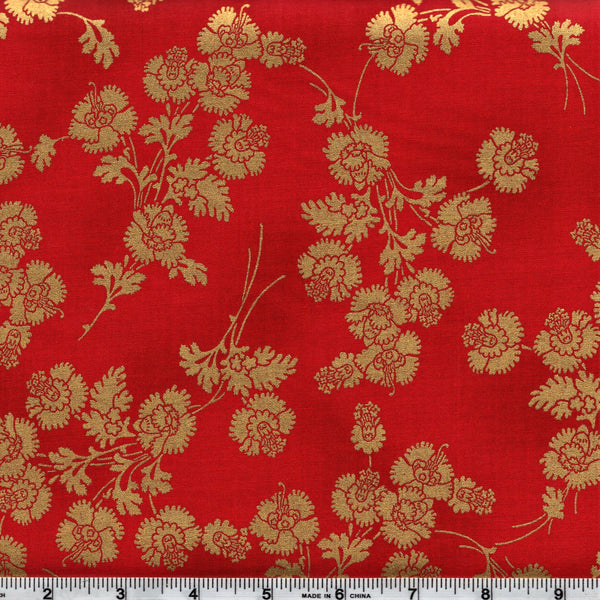 Hoffman Metallics 7453 5 Golden Carnation Bouquet On Red By The Yard