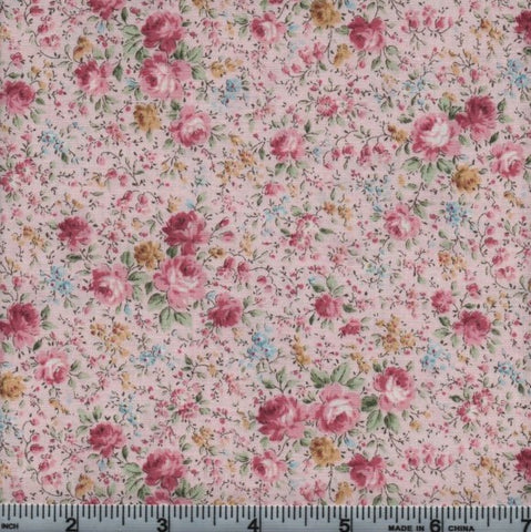 Kaufman Anna 7459 106 Blossom Roses On Pink By The Yard