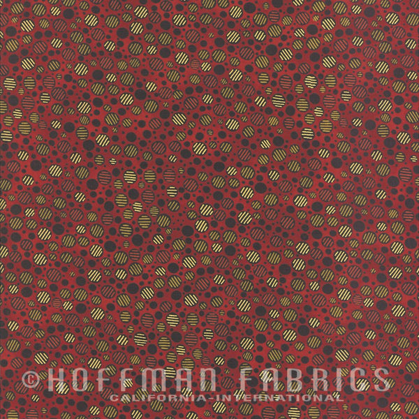 Hoffman Metallics 7459 528 Cinnabar Striped Ovals By The Yard