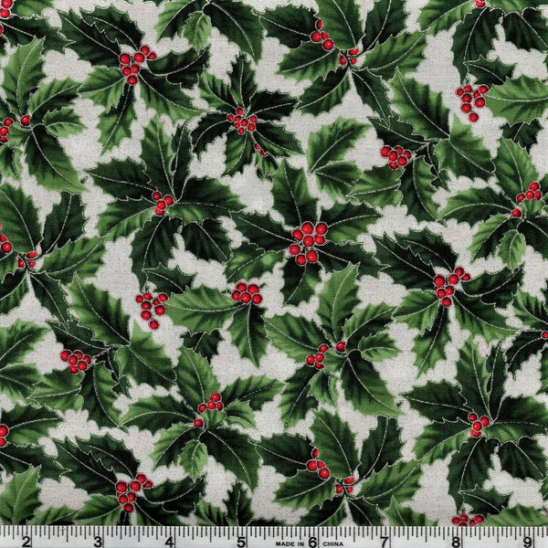 Hoffman Metallic Christmas 7466 176 Happy Holly On Ice By The Yard
