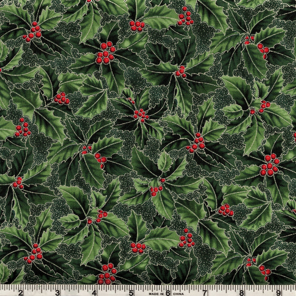 Hoffman Metallic Christmas 7466 60 Happy Holly On Hunter By The Yard