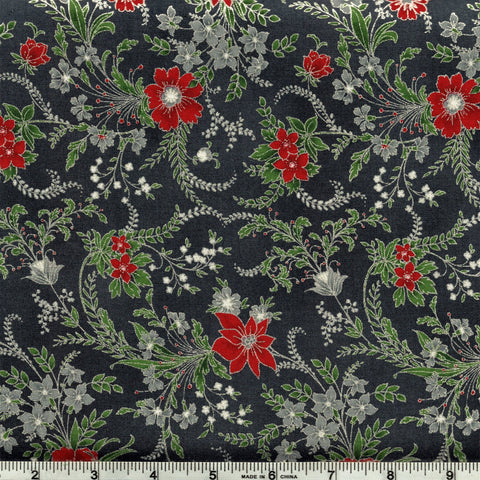 Hoffman Metallic Christmas 7468 147 Flowing Flowers Of Christmas On Storm Grey By The Yard