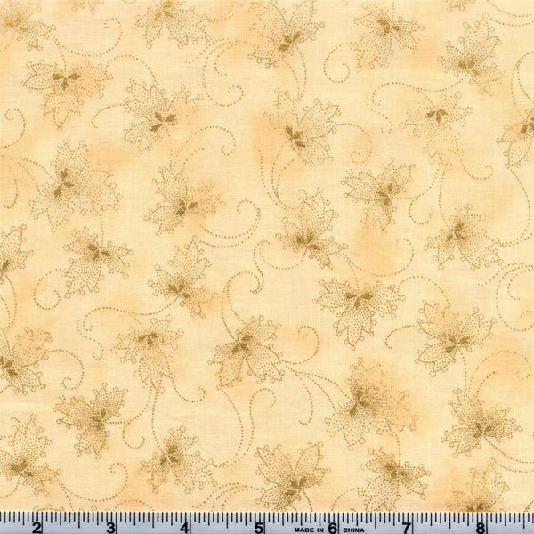 Hoffman Metallic Christmas 7480 33 Tawny Golden Leaves Of Elegance By The Yard