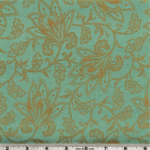 Hoffman Metallics  7507 41 Golden Vines With Flora On Aqua By The Yard