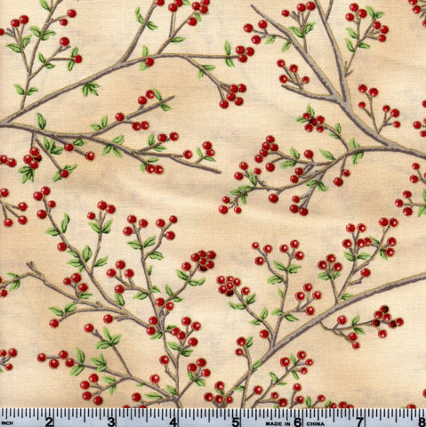 Hoffman Christmas Metallic Good Tidings 7519 33G Cream Holly By The Yard