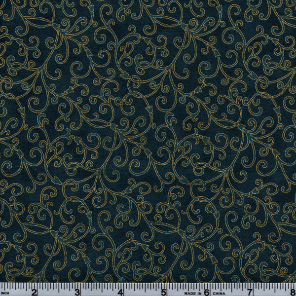 Hoffman Christmans Metallic Good Tidings 7520 21G Gold Vines On Green By The Yard
