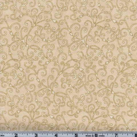 Hoffman Christmans Metallic Good Tidings 7520 33G Gold Vines On Beige By The Yard