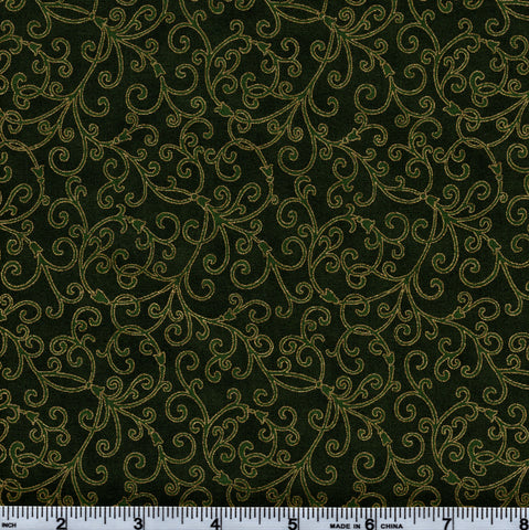 Hoffman Christmas Metallic Good Tidings 7520 60G Gold Vines On Hunter Green By The Yard
