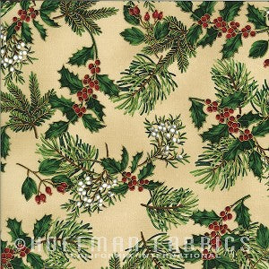Hoffman Metallic Christmas 7526 33 Mixed Winterberries On Tan By The Yard
