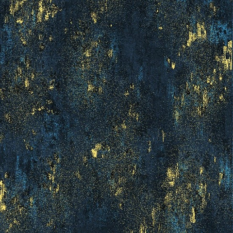 Hoffman Metallic Luxe 7690 19G Navy/Gold Weathered Solid By The Yard