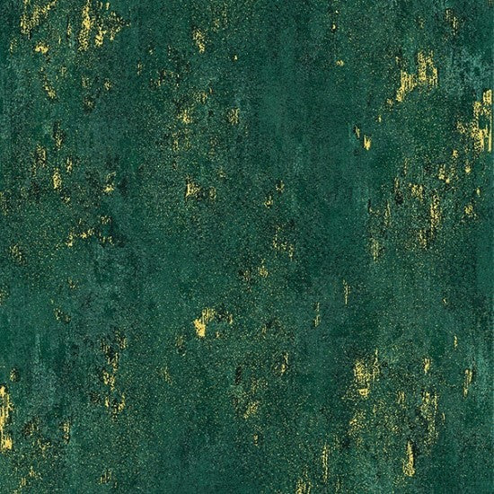 Hoffman Metallic Luxe 7690 31G Emerald/Gold Weathered Solid By The Yard