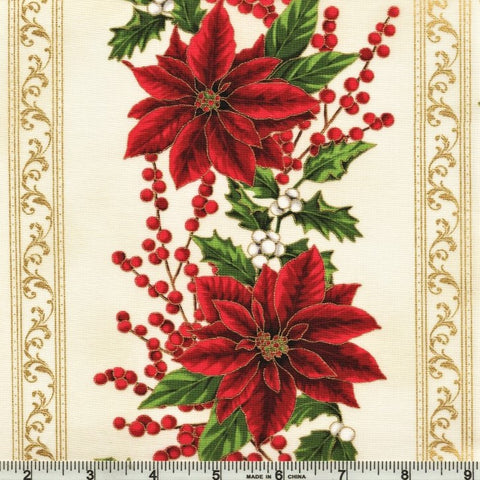 Hoffman Metallic Holiday Decadence 7701 20 Natural/Gold Winter Stripe By The Yard