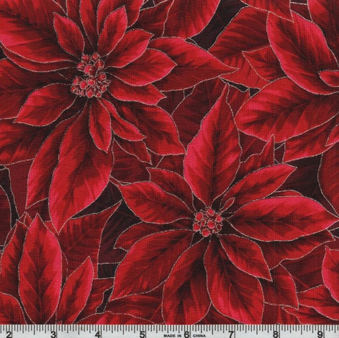 Hoffman Metallic Holiday Decadence 7702 10 Crimson/Silver Poinsettia Blooms By The Yard